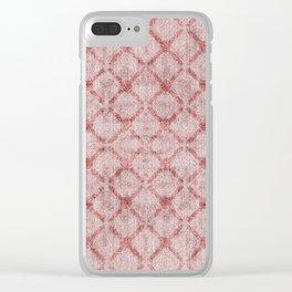 Faux Velvet Dusty Pink Lattice Pattern Clear iPhone Case