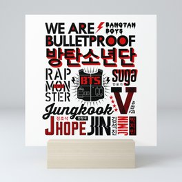 BTS Font Collage Mini Art Print