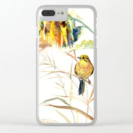 Yellow Bird and Sunflowers, Yellowhammer Clear iPhone Case