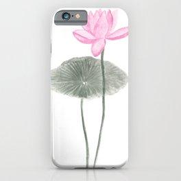Pink lotus print iPhone Case
