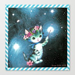 Space Witch Cat handcut collage Canvas Print