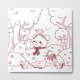 The Adventures of Bear and Baby Bear-Picking Berries Metal Print