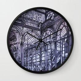 Cool grey - Crystal Palace, Park Retiro, Madrid Wall Clock