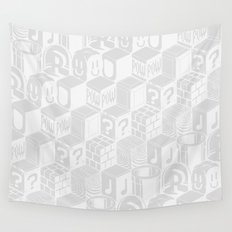 SUPER MARIO BLOCK-OUT! (White Edition) Wall Tapestry