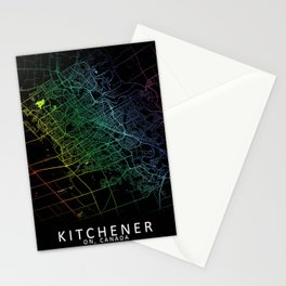 Kitchener, ON, Canada, City, Map, Rainbow, Map, Art, Print Stationery Cards