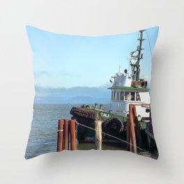 Pilot Boat Bejamin Foss, Columbia River, Astoria, Oregon Throw Pillow