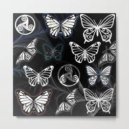 Butterfly Dreams in Black Metal Print