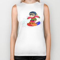 snowboarding Biker Tanks featuring Winter Sports: Snowboarding by Alapapaju