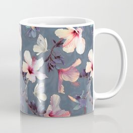 Butterflies and Hibiscus Flowers - a painted pattern Coffee Mug