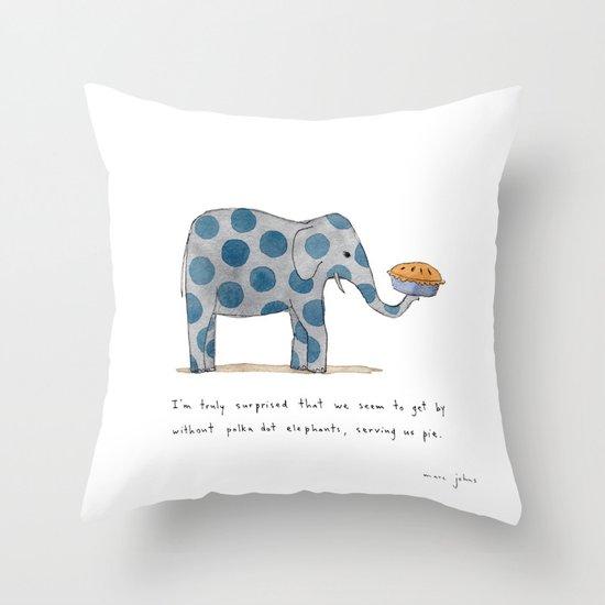 polka dot elephants serving us pie Throw Pillow