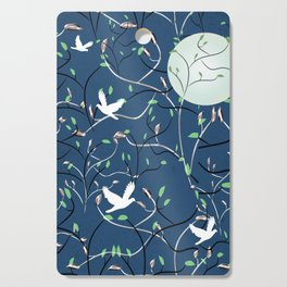 Art Nouveau Moon with Doves (Blue and Silver) Cutting Board