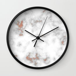 Rose gold gray and white marble Wall Clock