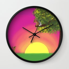 RingTail Cats in Love Wall Clock