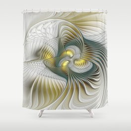 Noble And Golden, Abstract Modern Fractal Art Shower Curtain