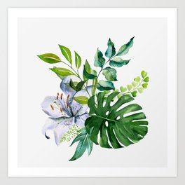 Flower and Leaves Art Print
