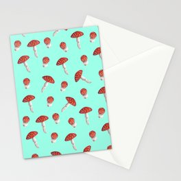 Elegant hand painted aqua red white watercolor mushrooms Stationery Cards