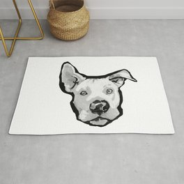 RESCUE ME Pit Bull Pitbull Dog Pop Art black and White Painting by LEA Rug