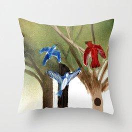 Blue Jays and Red Cardinal Throw Pillow