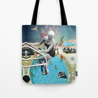 hippy Tote Bags featuring Happy Hippy Hippo by Eugenia Loli