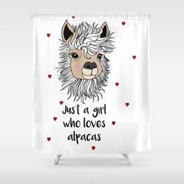 alpaca girl Llama Love Present Gift Shower Curtain