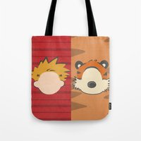 hobbes Tote Bags featuring A boy and his tiger by Raquel Segal
