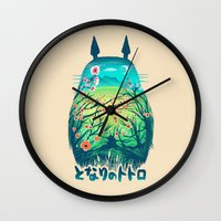 friends Wall Clocks featuring He Is My Neighbor by Victor Vercesi