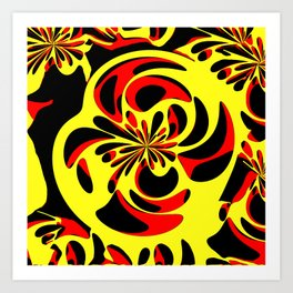 Yellow red and black Art Print