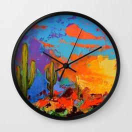 Saguaros Land Sunset Wall Clock