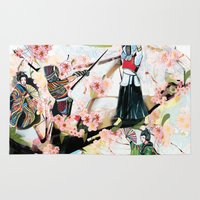 japanese Area & Throw Rugs featuring Japanese 2  by Felicia Atanasiu