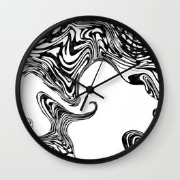 Black and White Liquid Marble Effect Design Wall Clock