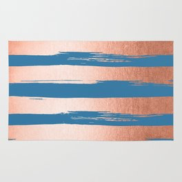 Trendy Stripes Sweet Peach Coral Pink + Saltwater Taffy Teal Rug