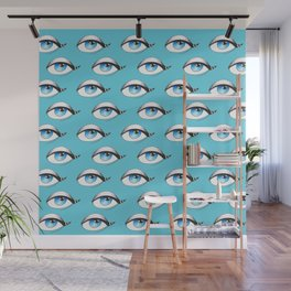 Blue Eyes Pattern On Blue Wall Mural
