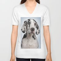 great dane V-neck T-shirts featuring Great dane by Life on White Creative