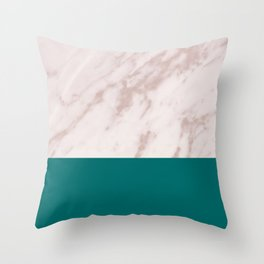 Real Rose Gold Marble and Biscay Bay Throw Pillow