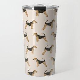 Airedale Terrier pattern minimal pet portrait dog gifts dog breeds dog lover Travel Mug