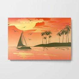 Tropical Sunset over the Sea Metal Print