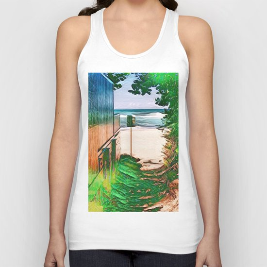 Hippie Beach View (Hippy / Hipster Waves of the Ocean) Unisex Tank Top