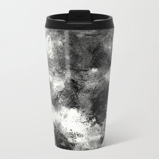 Deja Vu - Black and white, textured painting Metal Travel Mug