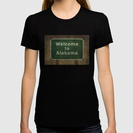 Alabama roadside sign illustration, with distressed ominous background T-shirt