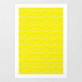 Flag Banner Illustration in Happy Yellow and White Art Print