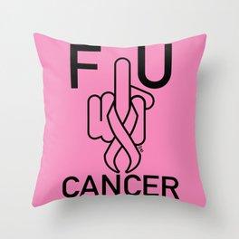 F U CANCER-black line Throw Pillow