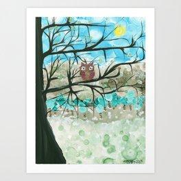 Owl Artwork By MiMi Stirn - Owl Seasons -  Winter #344 Art Print