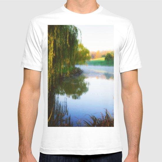Morning mist on Schnormeier pond T-shirt