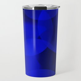 Abstract soap of ultramarine molecules and transparent bubbles on a deep blue background. Travel Mug