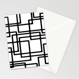 Interlocking Black Squares Artistic Design Stationery Cards