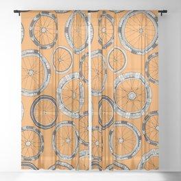 bike wheels amber Sheer Curtain