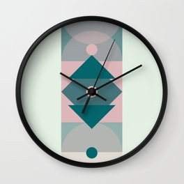 Nr. 2 Geometric Totem Pole Blush Pink and Green Wall Clock