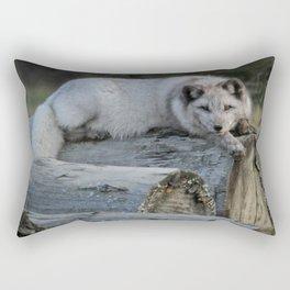 Arctic fox resting on logs Rectangular Pillow