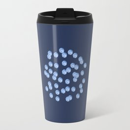 Blue Polka Dots on Blue Grey Travel Mug