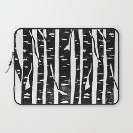 Woodcut Birches Black Laptop Sleeve